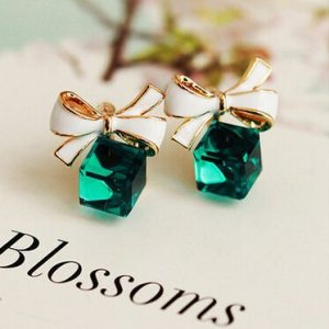 Shimmer Chic fashion Gold Bowknot Cube Crystal Earring