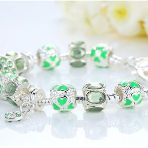 Silver Heart Charm Bracelet & Bangle With Glass Beads Jewelry