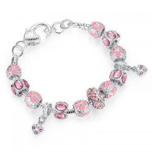Silver Heart Charm Bracelet & Bangle With Glass Beads Jewelry
