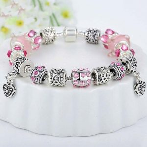 Silver-Crystal-Charm-Bracelet-for-Women-With-Pink-Murano-Glass-Beads