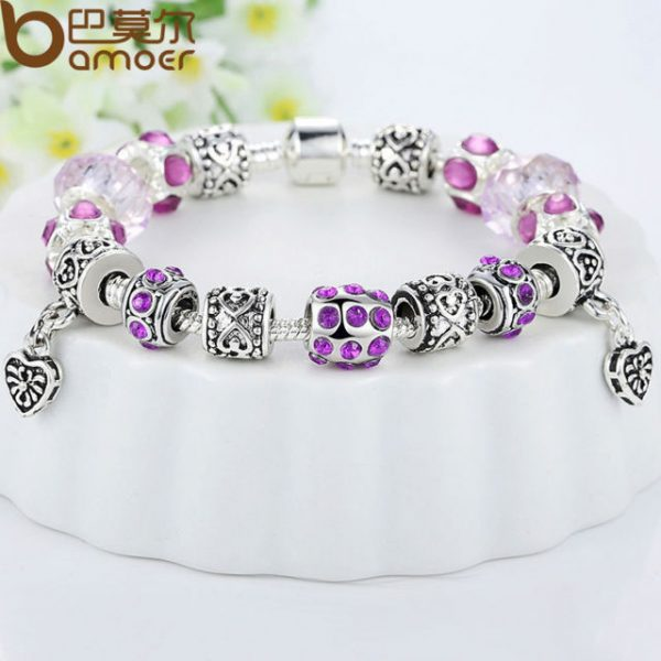 Silver Crystal Charm Bracelet for Women