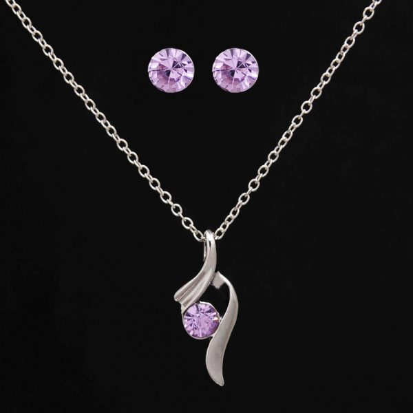 Silver Plated CZ Diamond Crystal Jewelry Sets Necklace and Earrings