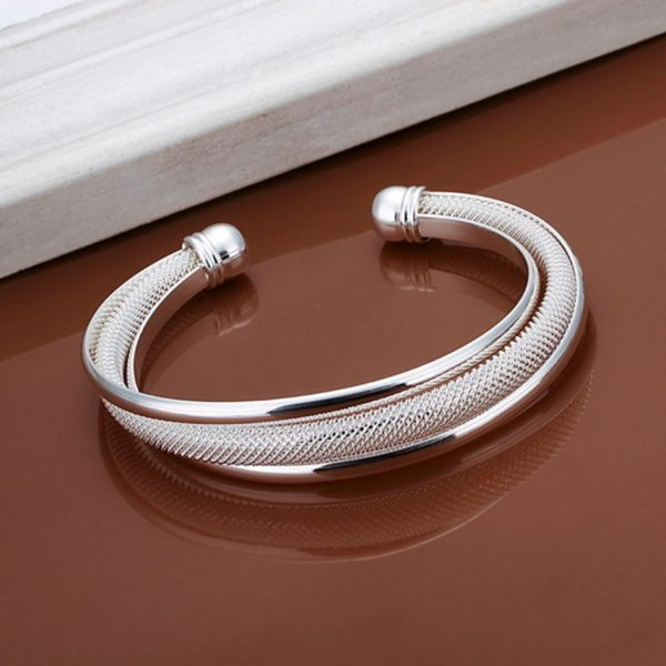 Silver Plated Color Charm Open Bracelet bangle Jewelry For Women