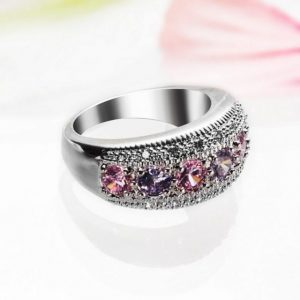 Silver Ring Size 7 Pink & White Topaz
