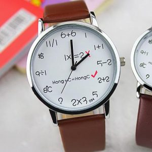 Silver Shell Leather Quartz Wrist Watch Clock for Women Men