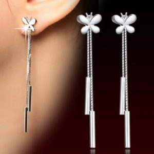 Silver plated ear jewelry Drop Earrings for women