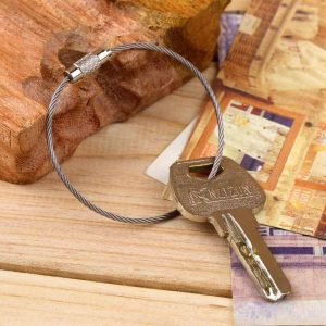 Stainless Steel Wire Keychain Cable Key Ring 10 Pcs