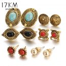 6 pairs/ set Fashion Vintage Punk Accessories Turquoise Flower Earring Sets For Women Bijoux Brincos Pendientes Earrin