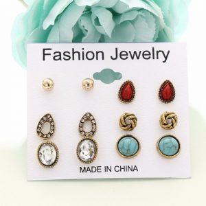 6 pairs/ set Fashion Vintage Punk Accessories Turquoise Flower Earring Sets For Women Bijoux Brincos Pendientes Earrin