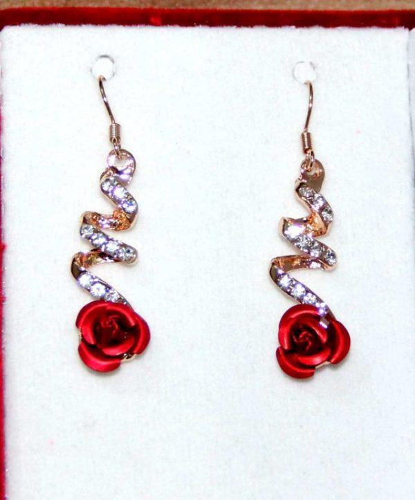 Temperament Crystal Red Rose Flower Women Dangle Drop Earrings