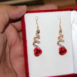 Temperament Crystal Red Rose Flower Women Dangle Drop Earrings