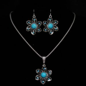 Tibetan Silver Blue Crystal Round Flowers Turquoise Pendant Necklace Earrings for Women