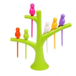 Dinnerware Sets Creative Tree Birds Design Plastic Fruit Forks 1 Stand 6 Forks