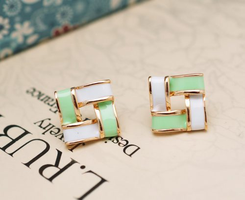 Trendy Luxurious Elegant 18K Gold-plated Sweet Candy Droplet Square Earrings