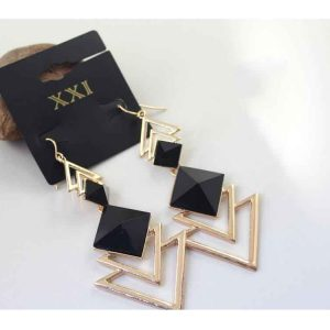 Trigonometric Quality plated gold Cutout Design Long Set Of Fashion Earrings
