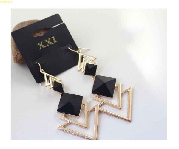 Trigonometric Quality plated gold Cutout Design Long Set Of Fashion Earrings