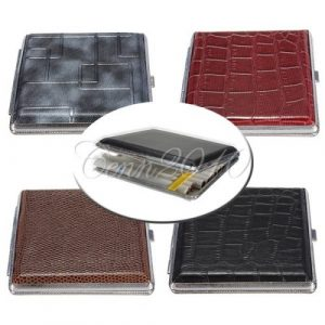 High quality Classic Leather & Metal Cigarette Box Pouch Case Holder Tobacco Storage Container for 20pcs 84mm Cigars