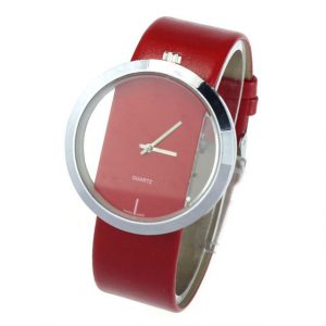 Unisex PU Leather Transparent Dial Hollow Analog Quartz Wrist Watch