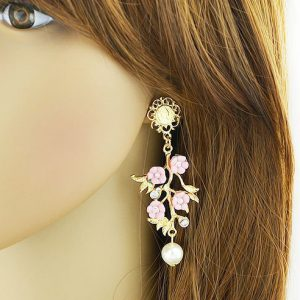 Vintage Style Colorful Resin Flower Dangle Earrings