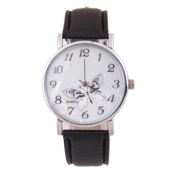 Watches For Women Girls Embossed Band Butterfly Pattern