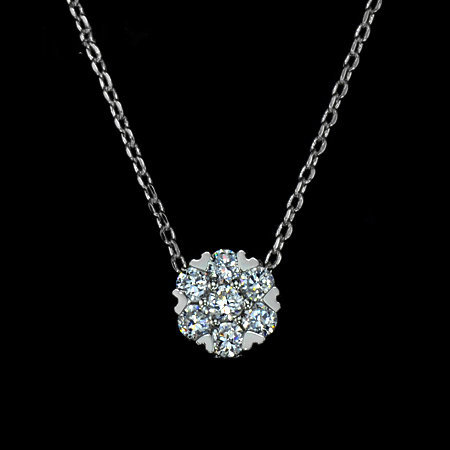 White Gold Plated 7 pcs 0.04 carat Top Grade Cubic Zirconia Stone Cluster Small Pendant Necklace