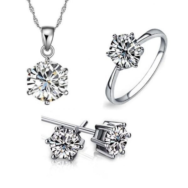 White Silver Noble classic Necklace Earring Ring Jewelry Sets