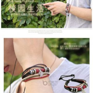 Wrap Leather Rope Bracelet Beads and Metal Charms