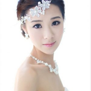 Hot Ladies Silver Rhinestone Bridal Wedding Flower Pearls Crystal Chic Headband Hair Clip Comb Jewelry