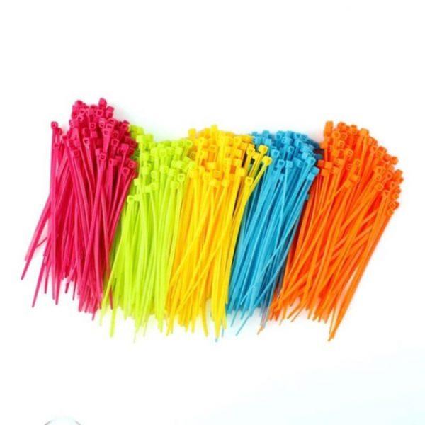 100pcs Mixed Color Plastic Cable Ties Strap Plastic Easy to Install Plastic Tie Strap Sent in Random 10*0.25cm