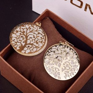 Zinc Alloy Hot Selling Matte Popular Elements Hollow Tree Gold – Plated Stup Earrings For Women