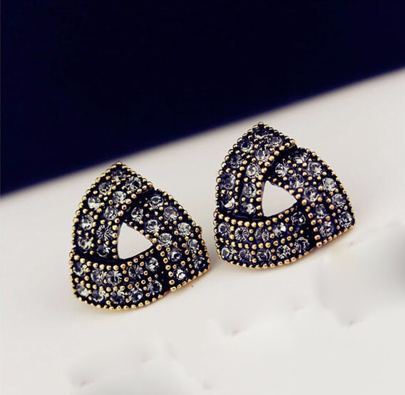 Crystal stud earrings ancient gold plated with grey zircon triangle