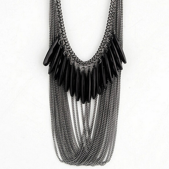 Black waterdrop multilayer tassel over the luxury fashion Statement Bib pendant necklace