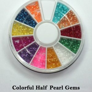 NAIL ART TIP GLITTER RHINESTONES in WHEEL