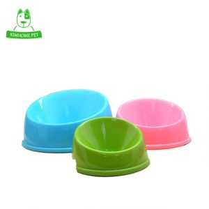 KIMHOME 2016 Candy Color Plastic Oblique Mouth Dog Water Food Bowl for Cats Puppy