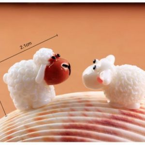 2 pcs/ Set kawaii cute sheep fairy home micro garden decoration moss doll house ornaments miniature
