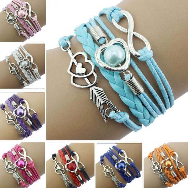 Love Hearts Pearl Infinity Symbol Multilayer Bracelets