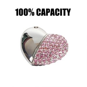 Rhinestone heart USB Flash Drive USB 2.0 Pen Drive Heart Memory usb Stick Pendrive