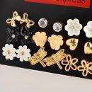 Dragonflies butterflies and enamel flower 9 pairs mixed stud earrings sets