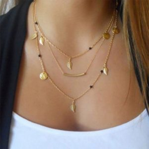 Gold silver chain beads leaves pendant necklace fashion jewelry multi layer necklaces for women