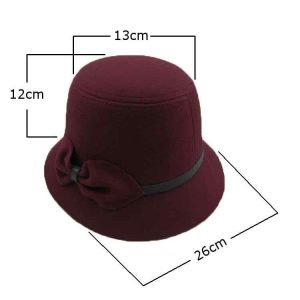 Fedora Hats Wool Bowler Bow Felt Cloche