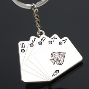 Hot Sale Zinc Alloy Silver Plated Gift Cool Creative Poker Squeezer Playing Card Keychain Fashion Keyring