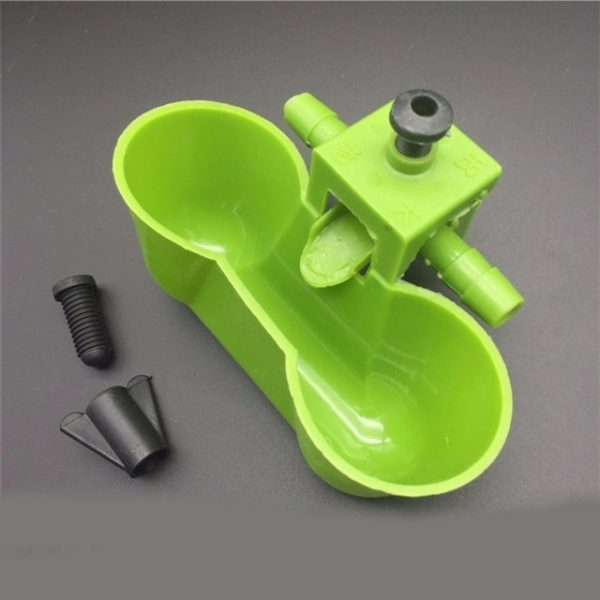 Deep Green Quail Drinking Bowl Poultry Feeding Supplies ABS Quail Drinker With Screw Nut Poultry Drinker