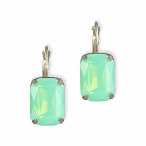 Opal crystal small drop earrings for women gold plated copper dangle statement earring