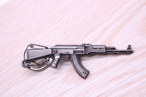 New Zinc Alloy AK-47 Gun Pistol Keychain Metal Key Ring
