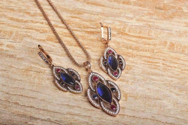 Jewelry Set Necklace Stud Earrings Women