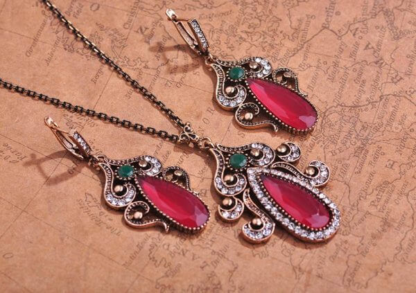 Jewelry Sets Necklace &Earrings Stone Turkish jewelry – Red