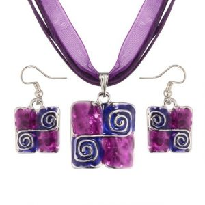 Purple Natural Stone Enamel Pendant Necklace Earrings Set