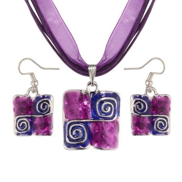 Purple Natural Stone Enamel Pendant Necklace Earrings Set