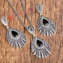 Silver Necklace Earrings Woman Jewelry Sets