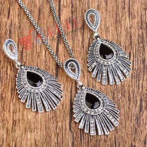 Silver Necklace Earrings Woman Jewelry Sets